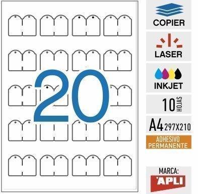 e20-11945-Etiquetas colgantes imprimibles adhesivas - 10 HOJAS APLI ...