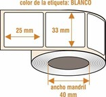 BLR016 - Etiqueta papel BLANCAS hot melt - Rollo de 500 ud - 33 x 25 mm